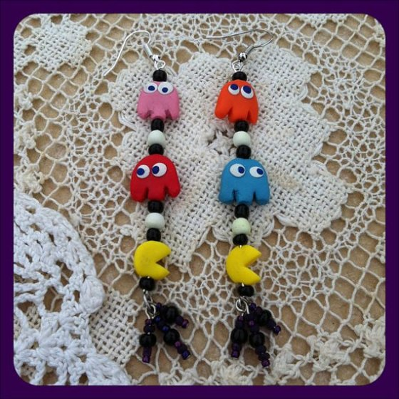 PacMan earrings made by ME!! :D